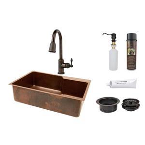 Évier de cuisine Premium Copper avec robinet, 33 po, cuivre