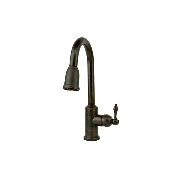 Premier Copper Products 33-in Hammered Copper Double Offset Basin Kitchen Sink and Pull Down Faucet Set