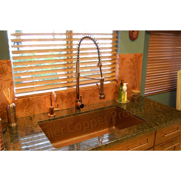 Premier Copper Products 33-in Antique Copper Single Basin Kitchen Sink