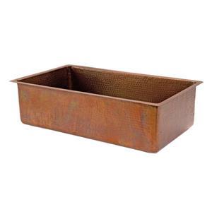 Premier Copper Products 33-in Antique Copper Single Basin Kitchen Sink