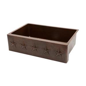 Premier Copper Products 33-in Copper Apron Star Single Kitchen Sink
