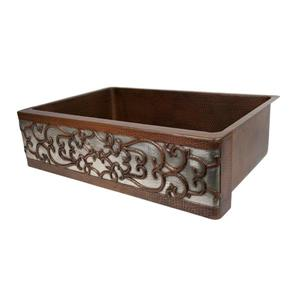 Premier Copper Products 33-in Copper Apron Scroll Sink