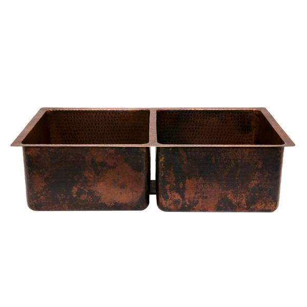 Premier Copper Products 33-in Double Basin Kitchen Sink