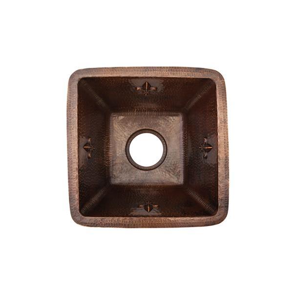 Évier de cuisine ou de bar fleur de lis, cuivre martelé, 15 po