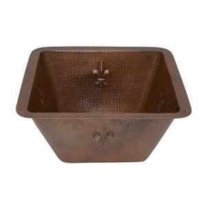 Premier Copper Products 15-in Copper Fleur de Lis Square Bar Sink