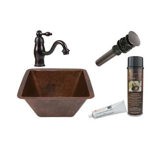 Sink with Faucet and Drain - Copper
