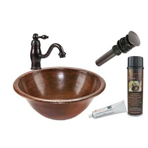 Round Self Rimming Sink with Single Handle Faucet and Drain Hammered Copper Oil Rubbed Bronze 17