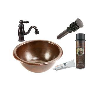 Lavabo rond avec robinet, cuivre
