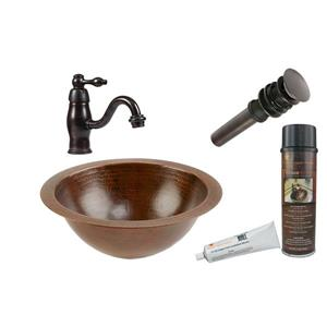 Round Under Counter Sink WIth Single Handle Faucet and Drain Hammered Copper Oil Rubbed Bronze 12