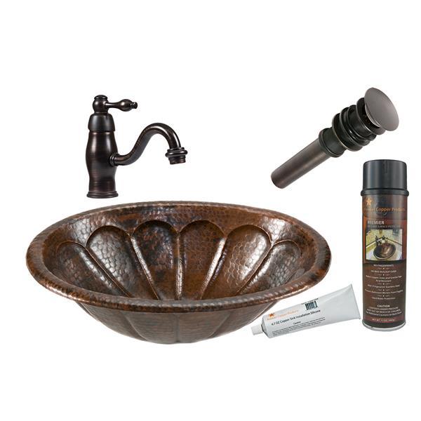 Lavabo à motif soleil avec robinet, cuivre