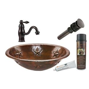 Lavabo ovale à motif d'étoile avec robinet, cuivre