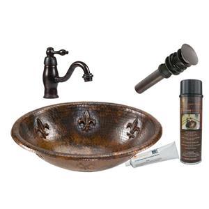 Premier Copper Products Fleur De Lis Copper Sink With Faucet And Drain