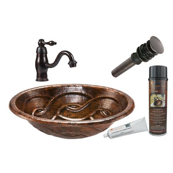 Lavabo ovale tressé avec robinet, cuivre