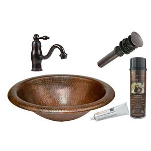 Premier Copper Products Wide Sink with Faucet and Drain - Copper