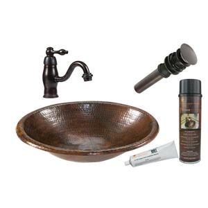 Small Oval Sink with Faucet and Drain - Copper