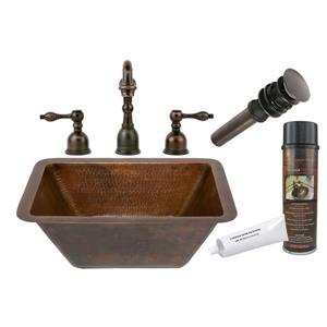 Rectangle Sink with Faucet and Drain - Copper