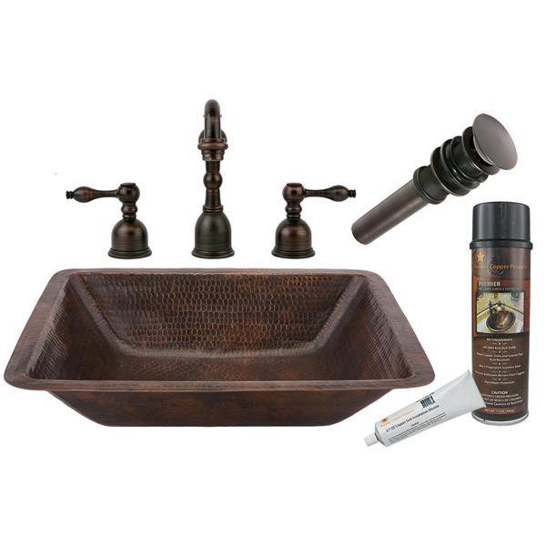 Lavabo rectangulaire avec robinet, cuivre