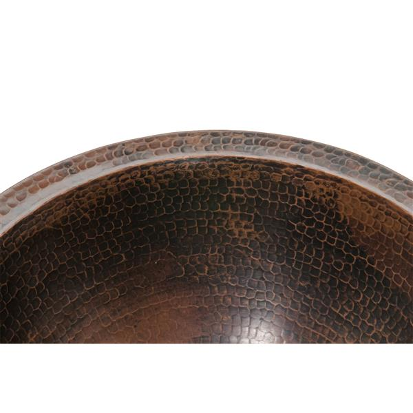 Premier Copper Products 14-in Round Sink with Faucet and Drain - Hammered Copper