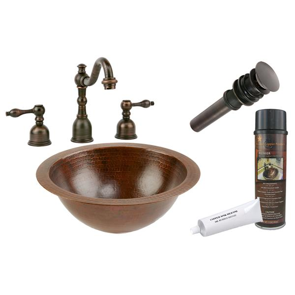 Premier Copper Products 12-in Round Sink with Faucet and Drain - Hammered Copper