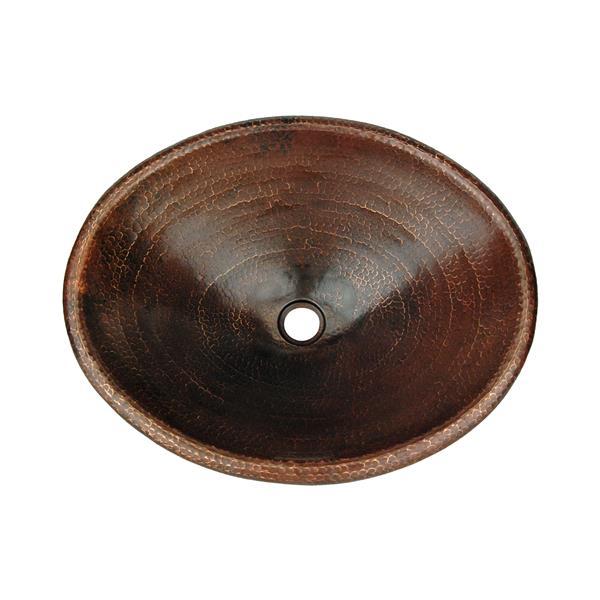 Lavabo ovale avec robinet, cuivre