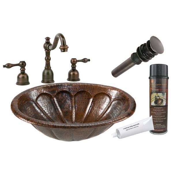 Lavabo ovale à motif soleil avec robinet, cuivre