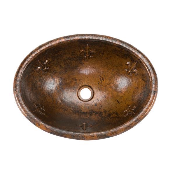 Lavabo fleur de lis avec robinet, cuivre