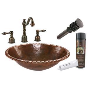 Lavabo avec robinet et drain, cuivre