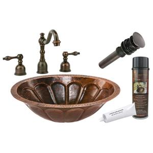 Premier Copper Products Sunburst Sink with Faucet and Drain - Copper