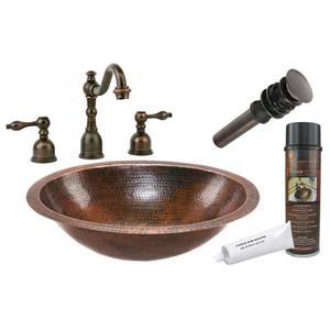Lavabo ovale avec robinet large, cuivre