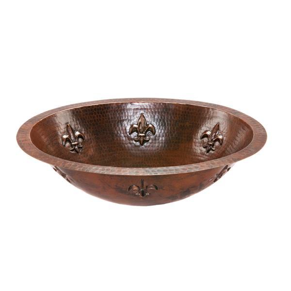 Lavabo fleur de lis avec robinet et drain, cuivre