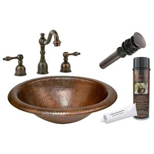 Premier Copper Products Oil Rubbed Bronze Copper Sink With Faucet And Drain
