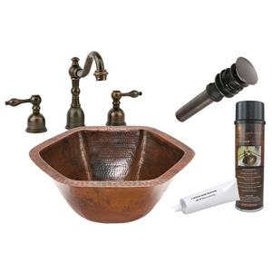 Premier Copper Products Hexagon Copper Sink With Faucet And Drain