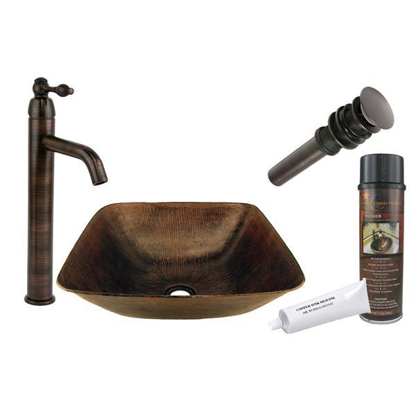 Lavabo carrée avec robinet et drain, cuivre