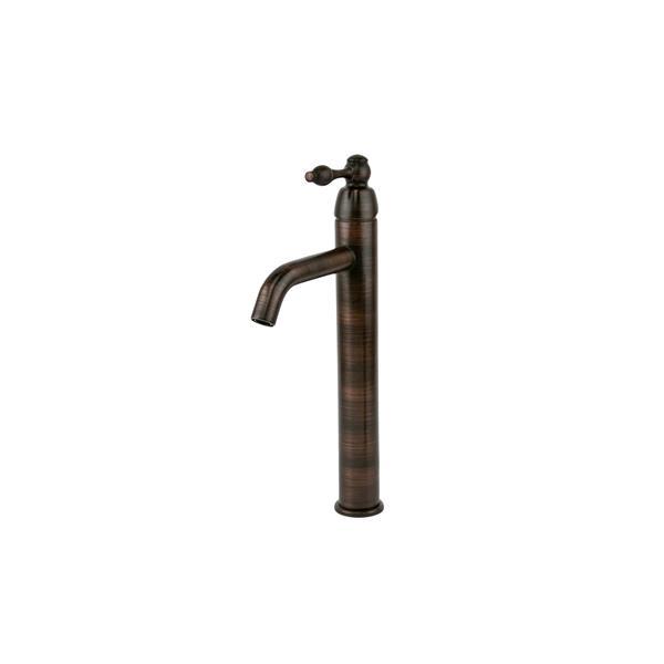Grand lavabo rond avec robinet et drain, cuivre
