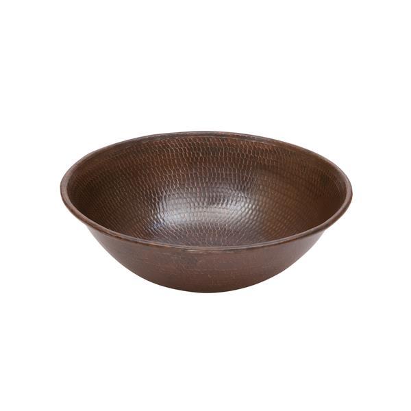 Lavabo rond avec robinet et drain, cuivre
