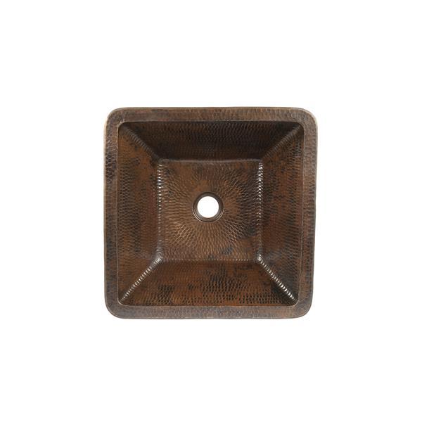 Lavabo carré avec robinet et drain, cuivre