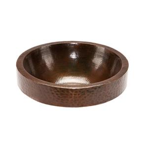 Premier Copper Products Round Skirted Vessel Sink Hammered Copper Oil Rubbed Bronze