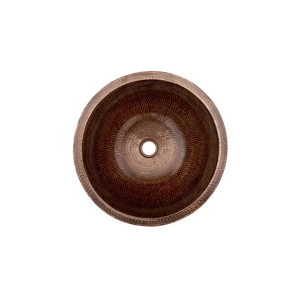 Premier Copper Products Small Round Skirted Vessel Sink - Hammered Copper