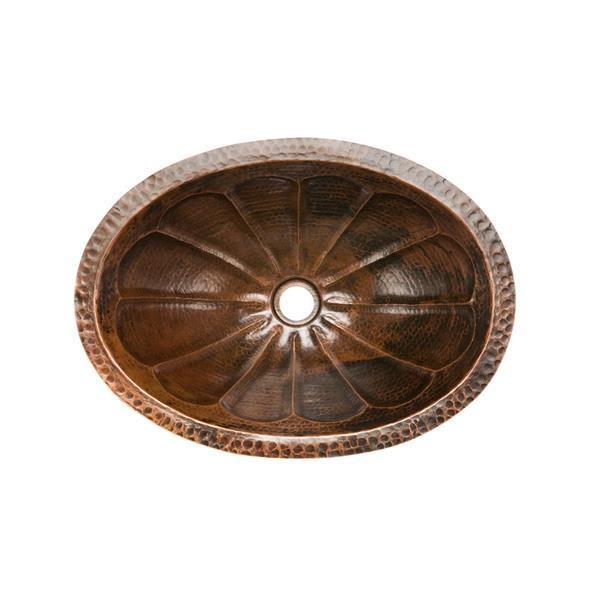 Lavabo ovale en cuivre martelé à motif soleil