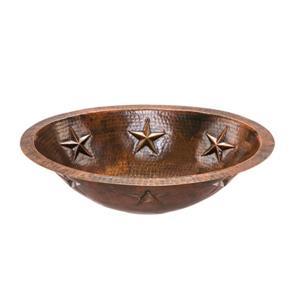 Lavabo ovale Premier Copper avec étoiles, Cuivre