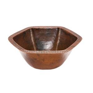 Lavabo ovale avec robinet et drain, cuivre