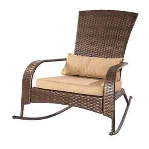 Patio Flare Muskoka Brown & Linen Sesame Premium Wicker Rocking Chair
