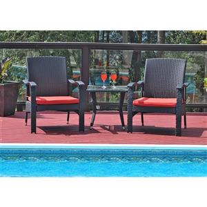 Patio Flare Whylie 3 pc Black & Red Conversation Set