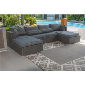 Patio Flare Sarah 6 pc Dark Grey Outdoor Modular Sofa Set
