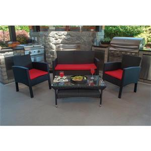 Darci 4-Piece Outdoor Conversation Set - Black and Red