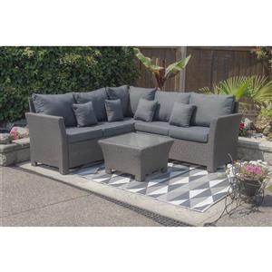 Ensemble de canapé pour le patio avec rangement, 4 pièces