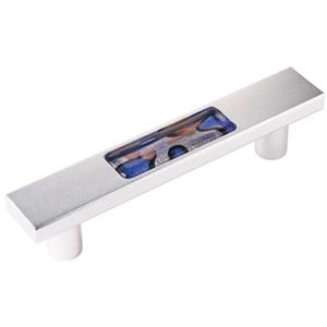5-in Blown Glass insert with Satin Aluminum  Drawer Pull