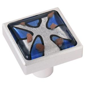 Square 1.37-in Royal Blue Aluminum and Glass Cabinet Knob