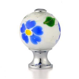 Poignée d'armoire ronde verre soufflé fleur bleue, 1