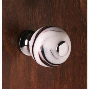 Poignée d'armoire ronde  en verre soufflé spirale noire, 1